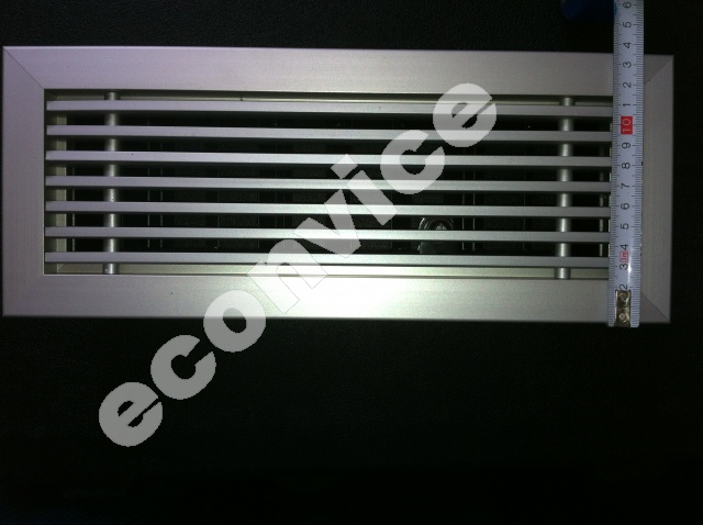 Vloerrooster, aluminium 334x134mm + regelklep